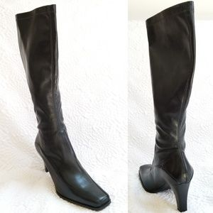 NWOT Franco Sarto Black Faux Pull-on Heel Boot